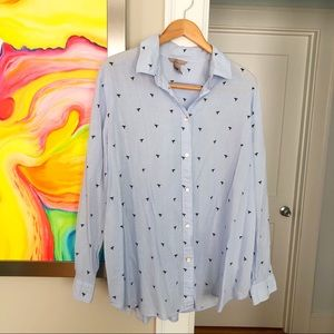 H&M 100% Cotton Bird Print Button Down Shirt